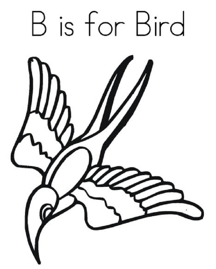B Is For Bird Coloring Page 1