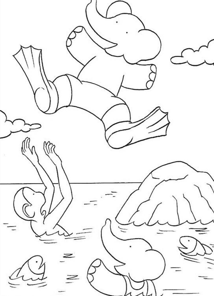 Babar Jumping Into The Sea Cartoon Coloring Pages For Kids