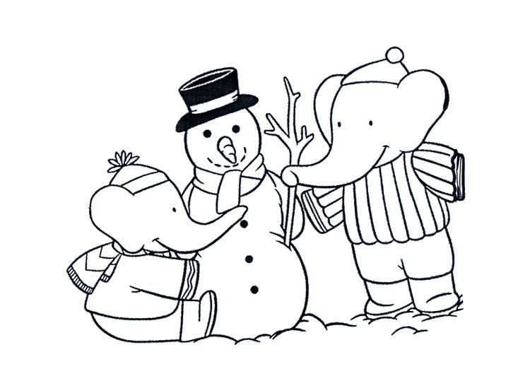 Babar Making Snowman Free Cartoon Coloring Pages