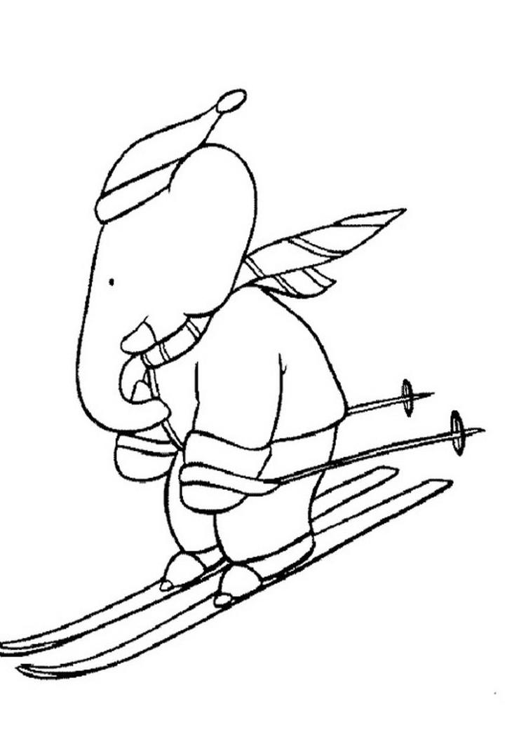 Babar Skating Free Cartoon Coloring Pages