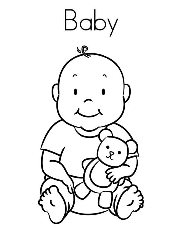 Babies And His Teddy Bear Coloring Pages