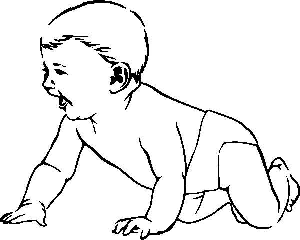 Babies Laughing While Crawling Coloring Pages