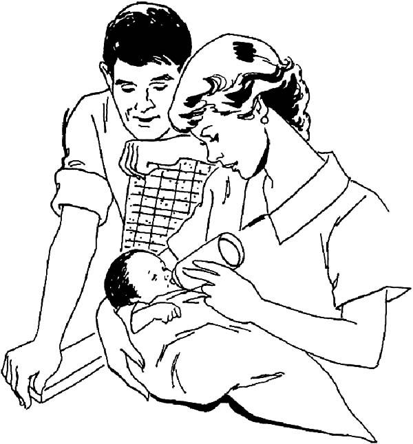 Babies Milking By His Mother Coloring Pages