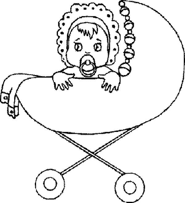 Babies Sad Eyes In Stroller Coloring Pages