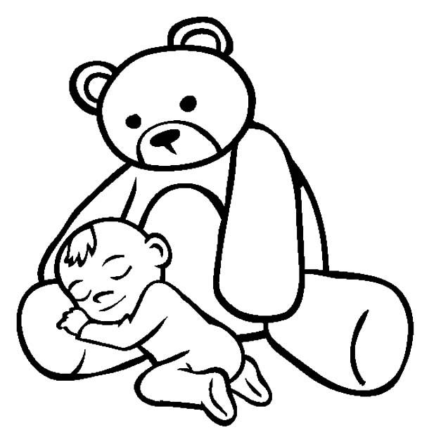 Babies Sleeping On Teddy Bears Lap Coloring Pages