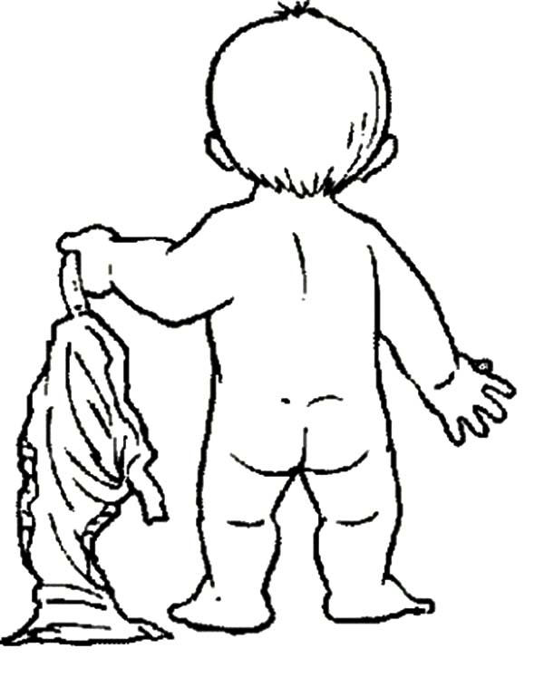 Babies Take Off His Pants Coloring Pages