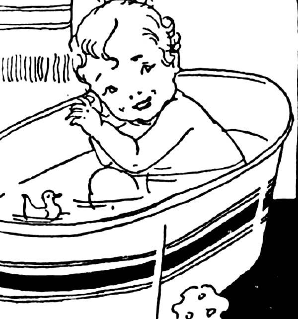 Baby Bath With Duck Coloring Pages