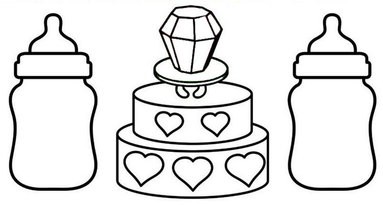 Baby Bottles And Cake Coloring Page