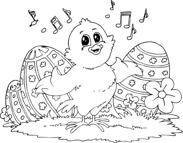 Baby Chicken Easter Coloring Picture