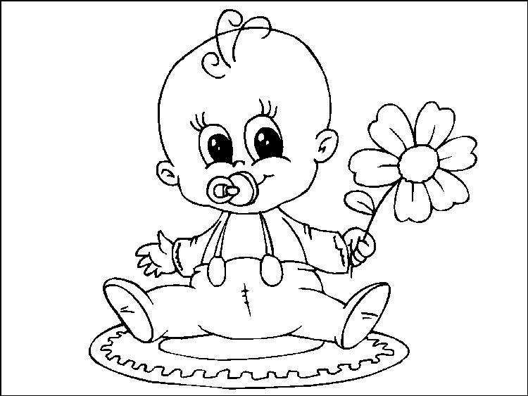 Baby Coloring Pages Holding Flower