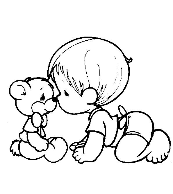Baby Coloring Pages With Teddy Bear