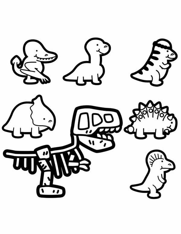 Baby Dinos Chibi Characters Coloring Pages