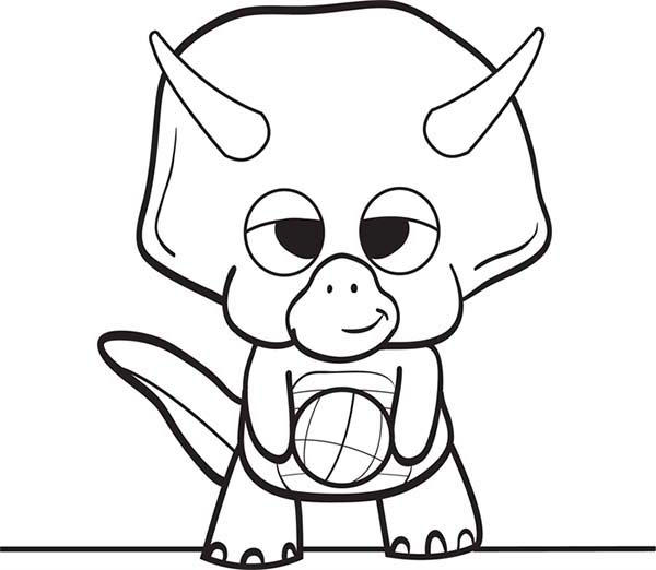 Baby Dinos Is Ready To Play Football Coloring Pages