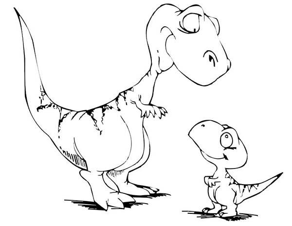 Baby Dinos Listen To His Mother Coloring Pages