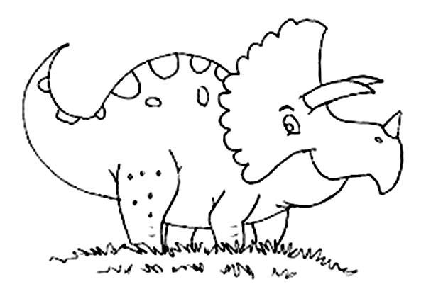 Baby Dinos Triceratop On The Meadow Coloring Pages