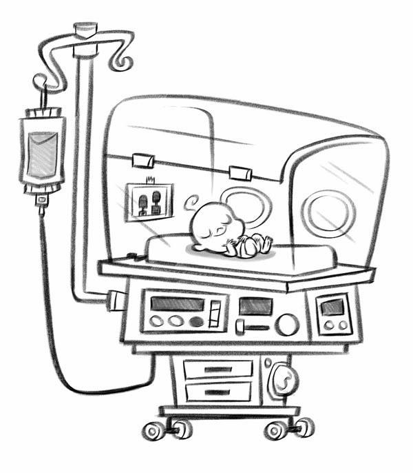 Baby In Incubator In Hospital Coloring Pages
