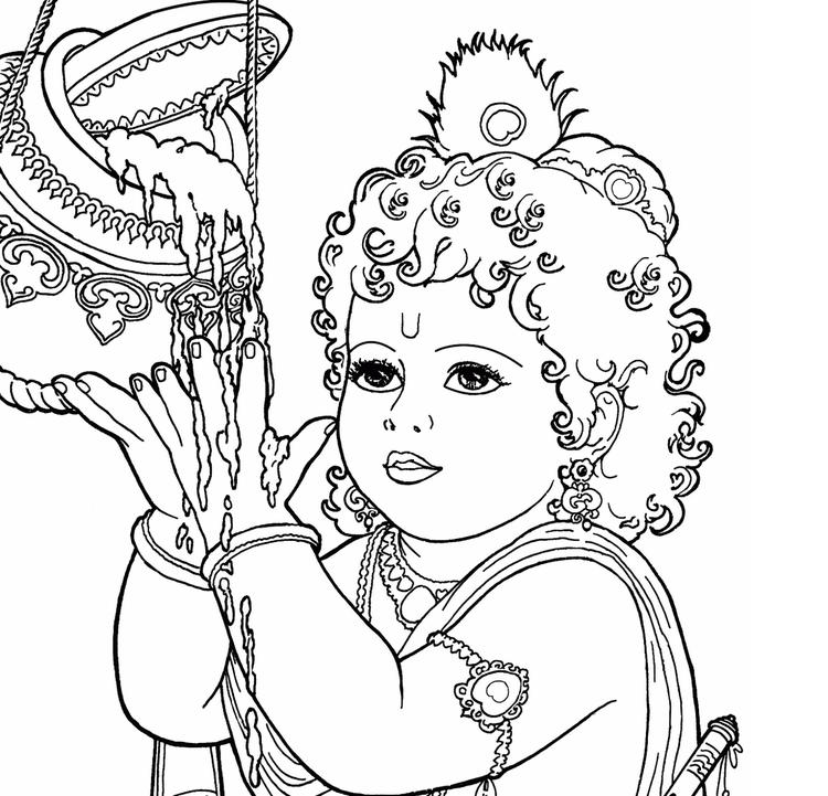 Baby Krishna Coloring Page Online