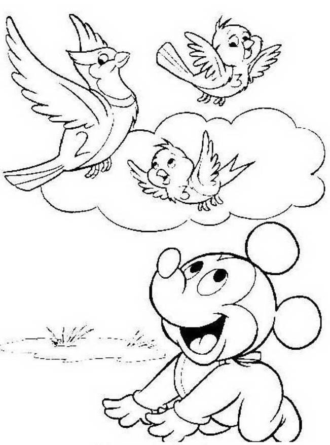 Baby Mickey And Birds Spring Disney Coloring Pages