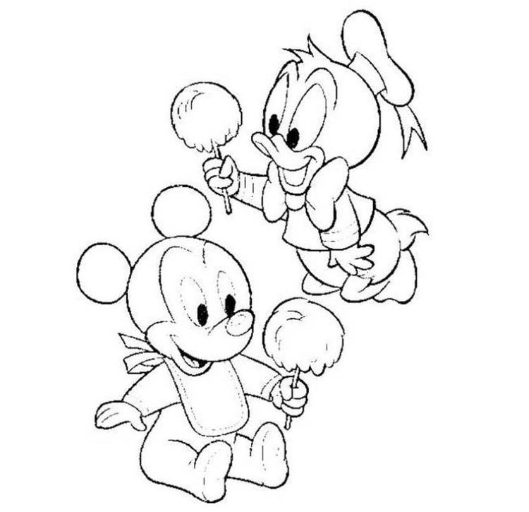 Baby Mickey Donald Cotton Candy Coloring Pages