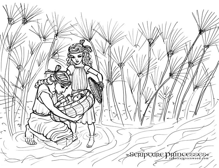 Baby Moses Colouring Sheet To Print