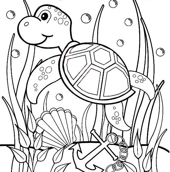 Baby Sea Turtle Coloring Pages Underwater