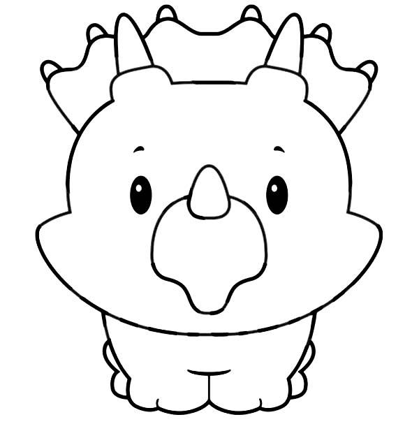 Baby Triceratops Smiling In Baby Dinos Coloring Pages