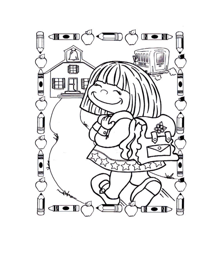 Back To School Coloring Pages For Girls
