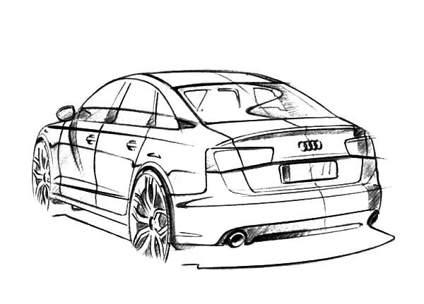 Backside View Of Audi Cars Coloring Pages