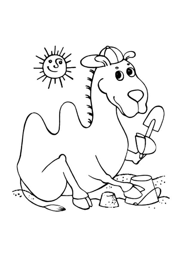 Bactria Camel At The Beach Coloring Pages
