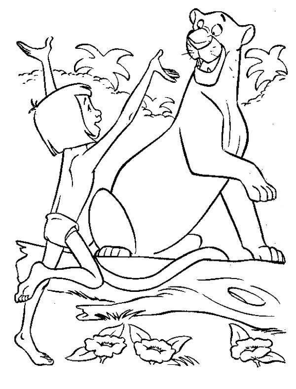 Bagheraa Is Surprised Meet Mowgli In Jungle Book Coloring Pages