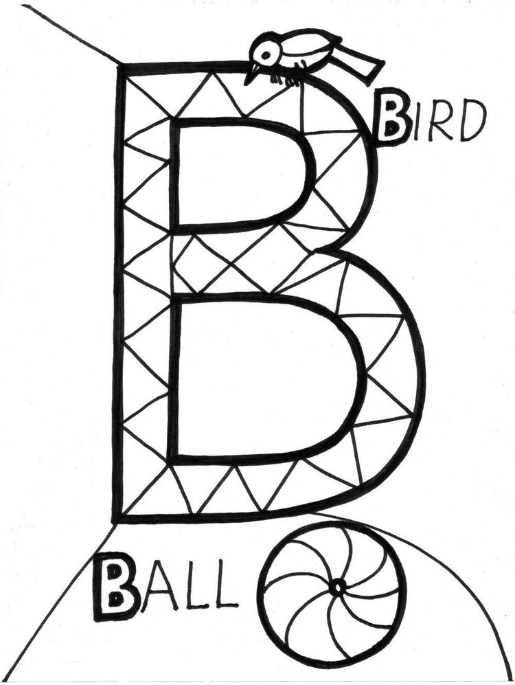 Ball And Bird Alphabet Coloring Pages