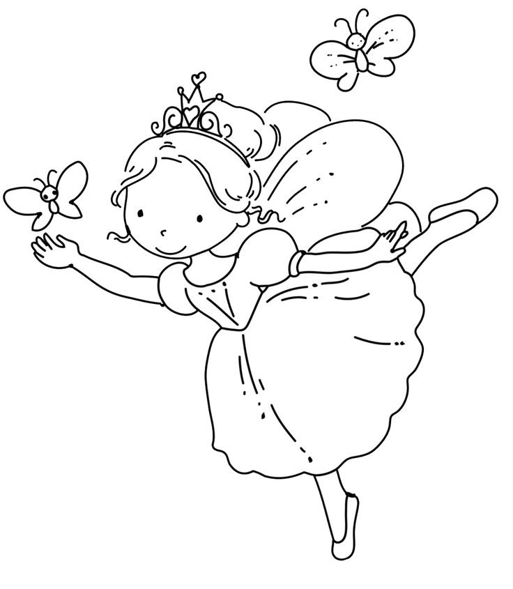 Ballerina Coloring Pages With Butterfly