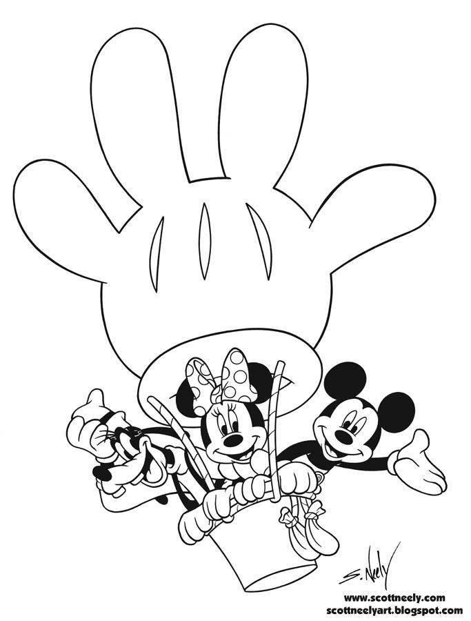Ballon Mickey Mouse Birthday Coloring Pages