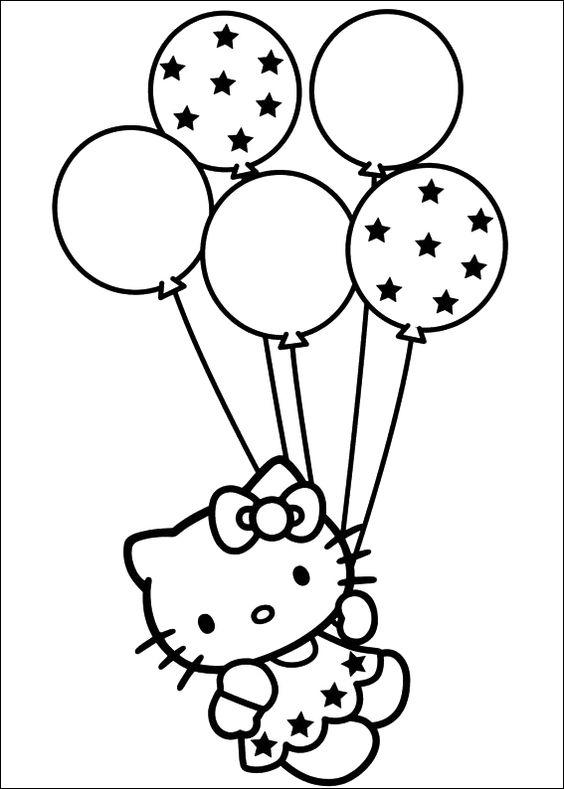 Balloon Coloring Pages Hello Kitty
