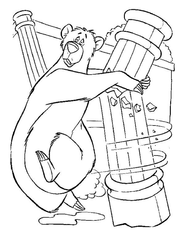 Baloo Holding Pillar In Jungle Book Coloring Pages