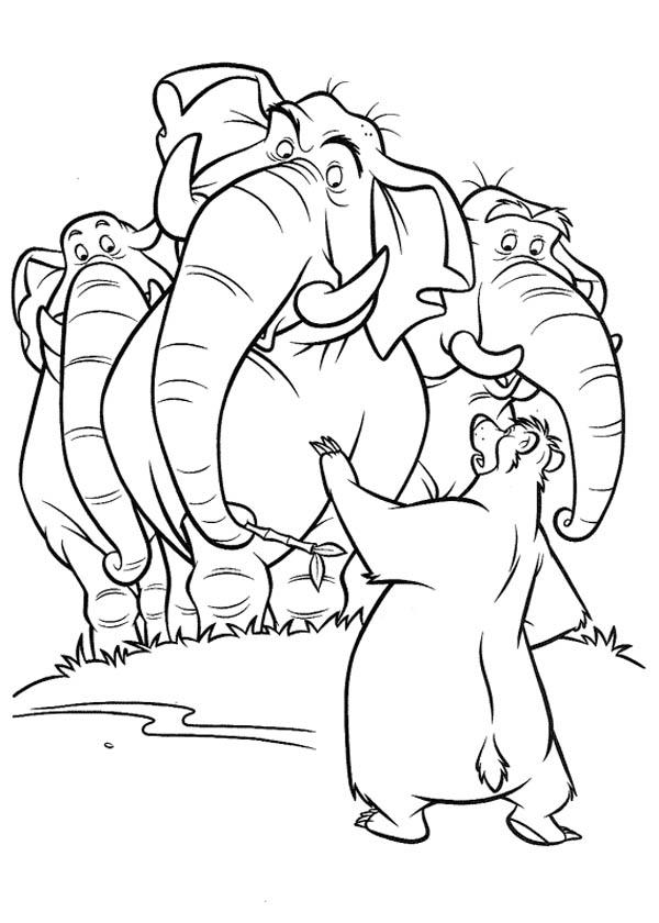 Baloo Talk To Colonel Hathi In Jungle Book Coloring Pages