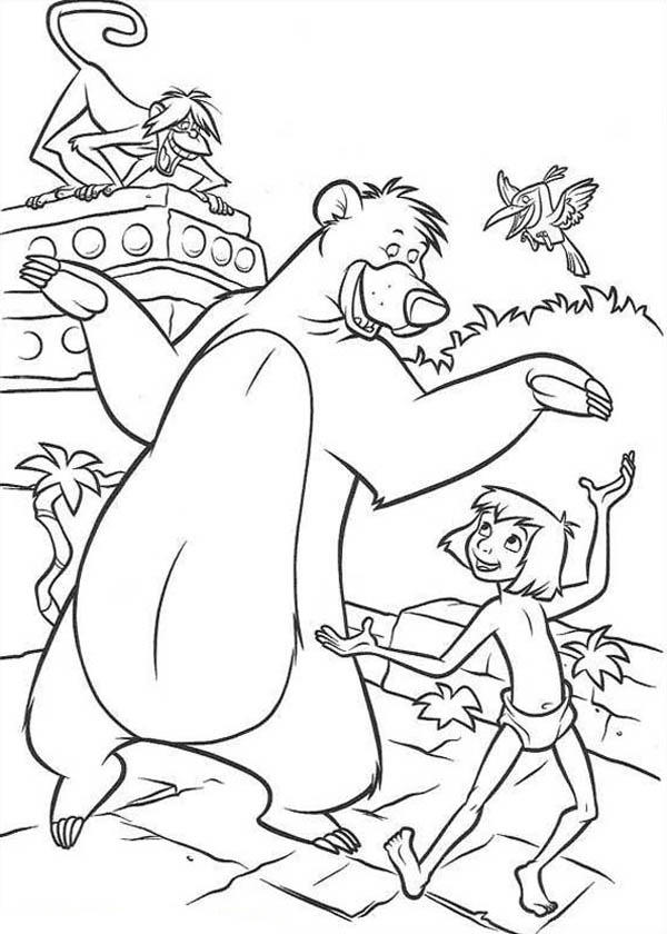 Baloo Teach Mowgli How To Dance In Jungle Book Coloring Pages