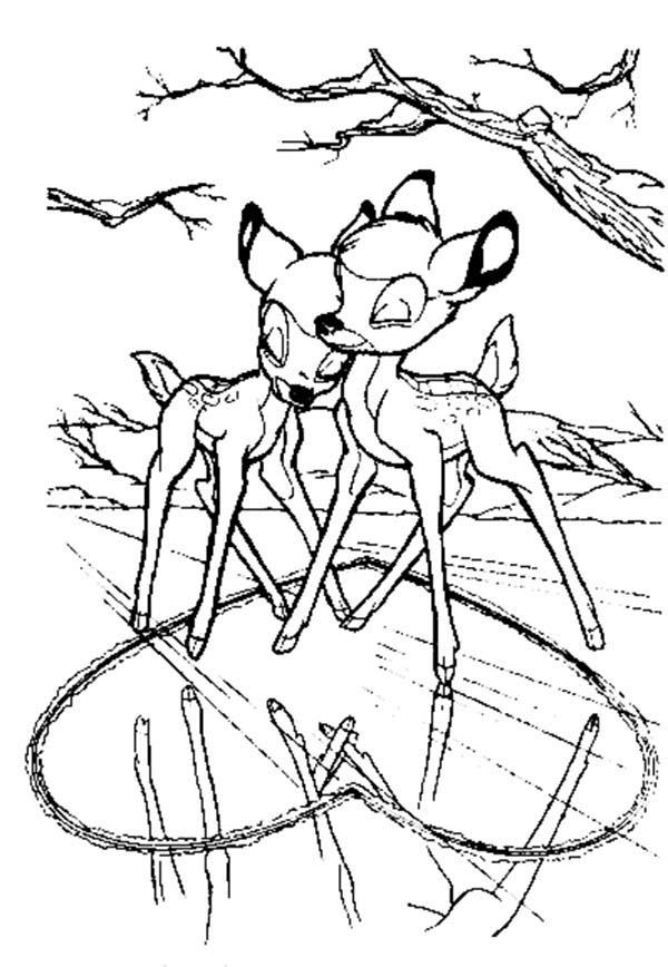 Bambi And Faline Love Each Other Coloring Pages
