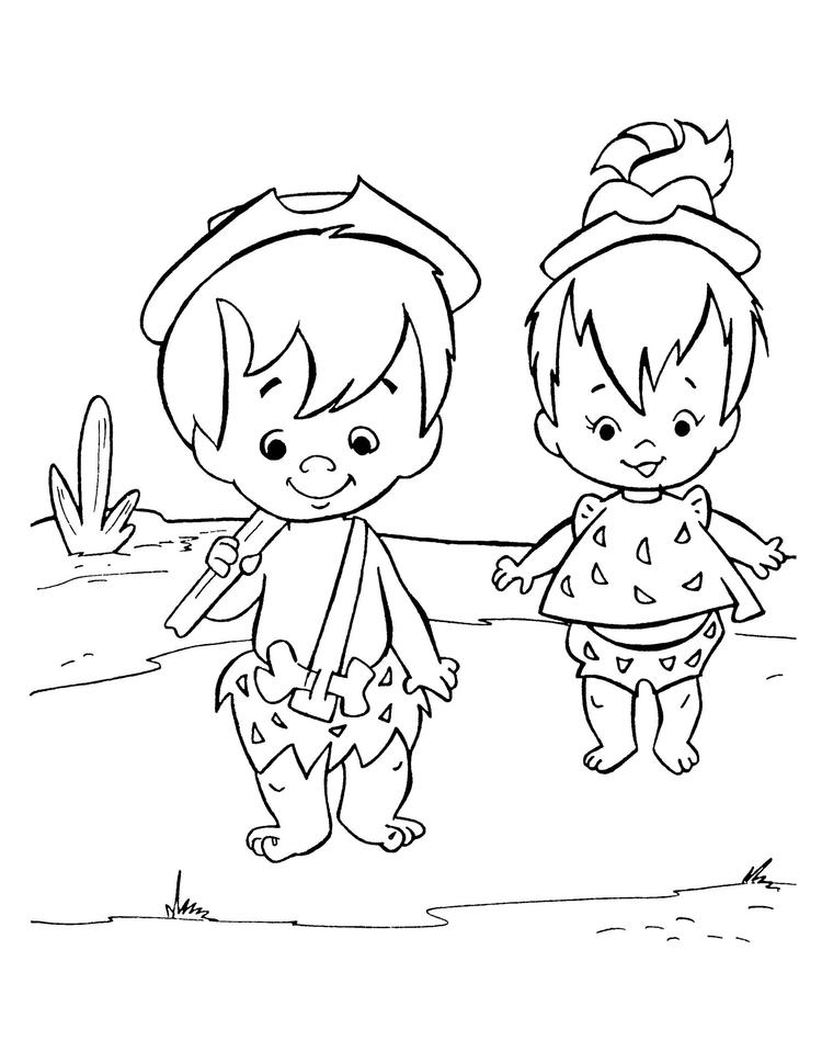 Bamm Bamm And Pebbles From Flintstone Coloring Page For Kids