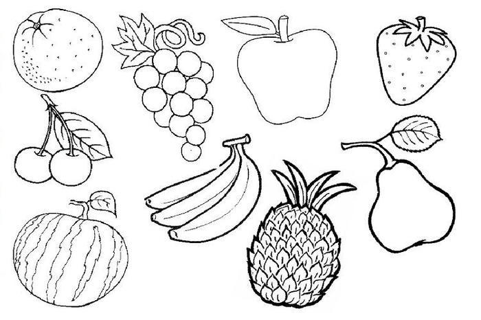 Banana And Other Fruits Coloring Pages