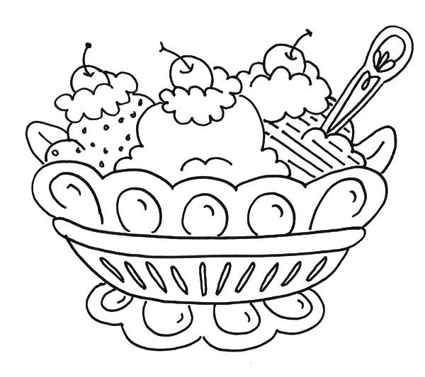 Banana Split And Ice Cream Coloring Pages