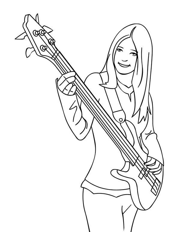 Band Player Playing Musical Instruments Bass Coloring Pages