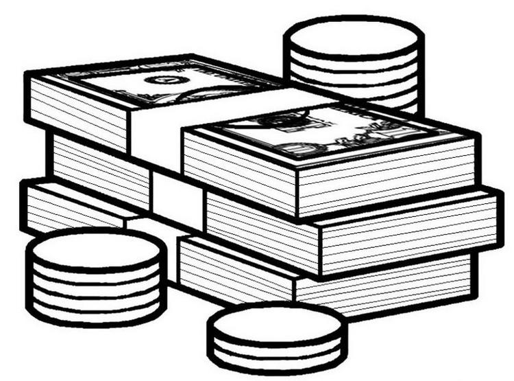 Banknote And Coin Coloring Page