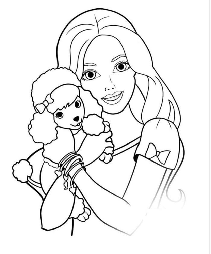 Barbie And Dog Coloring Pages 1