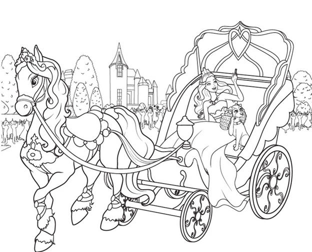 Barbie And Golden Horse Chariot Coloring Pages For Girls