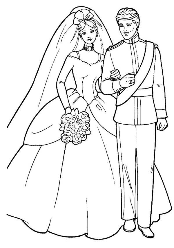 Barbie And Ken Royal Wedding Coloring Pages