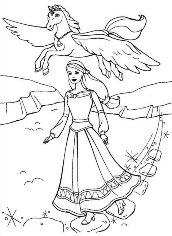 Barbie And Pegagus Magic Horse Coloring Page