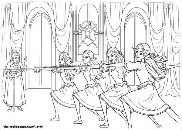 Barbie And The Three Musketeers Practising Coloring Pages