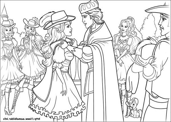 Barbie And Three Musketeers Coloring Pages Accepting Appreciation From The King