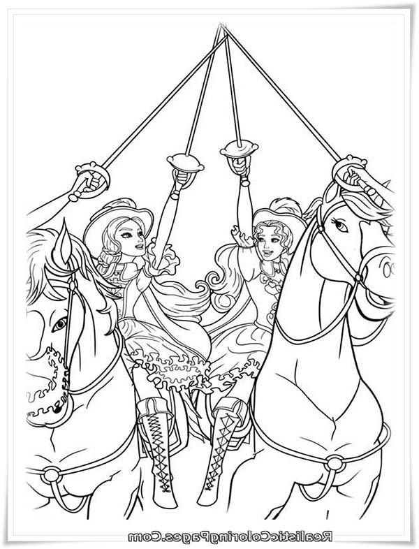 Barbie And Three Musketeers Coloring Pages All For One And One For All